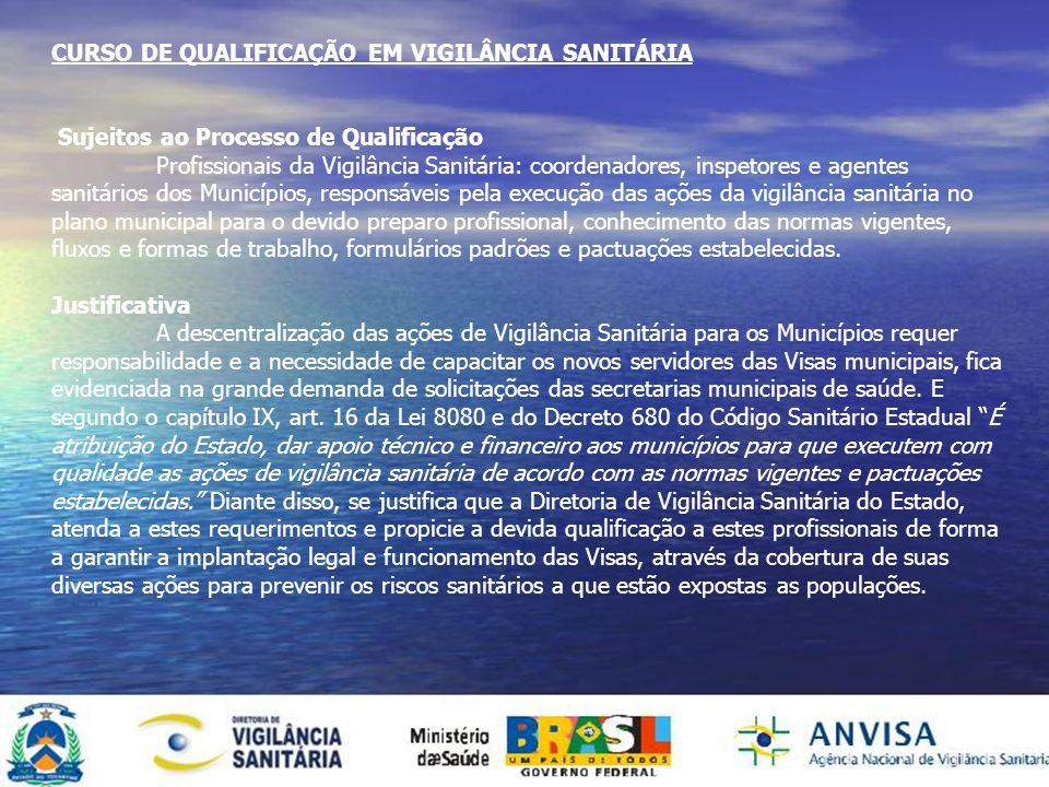 CURSO DE QUALIFICAÇÃO EM VIGILÂNCIA SANITÁRIA Sujeitos ao Processo de Qualificação Profissionais da Vigilância Sanitária: coordenadores, inspetores e