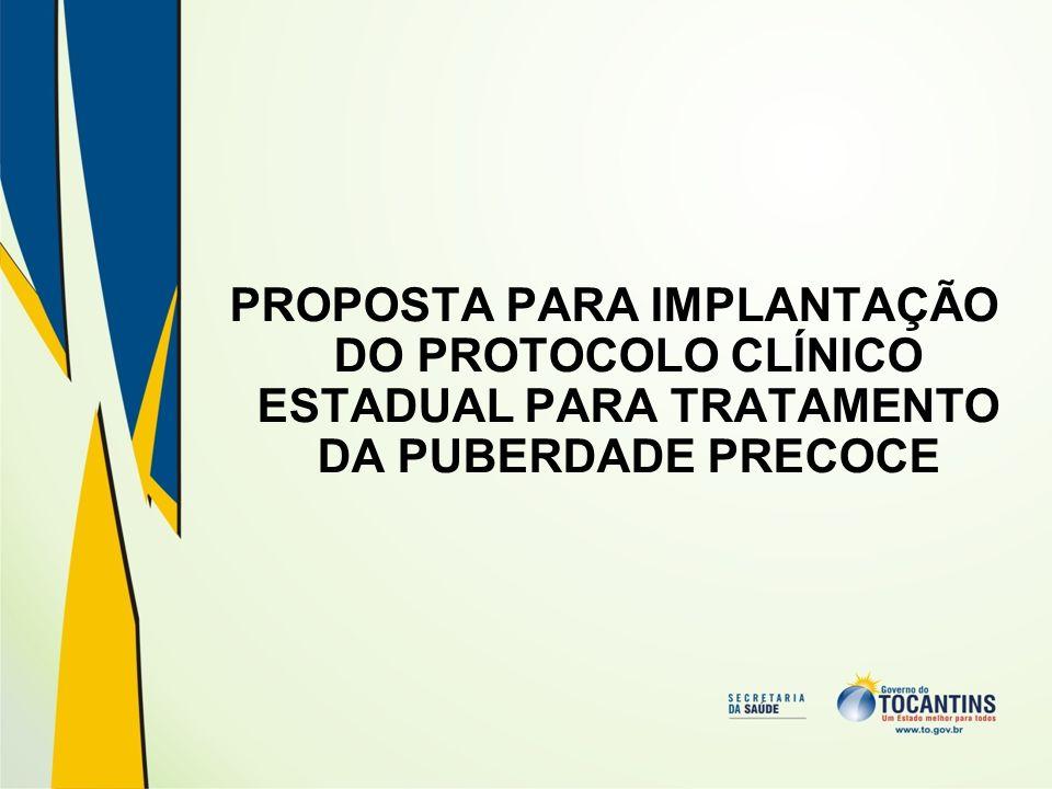 Portaria GM/MS Nº 2.577/2006 contempla o tratamento da Puberdade Precoce com fármacos análogos do GnRH (leuprorrelina 3,75 mg); O Anexo I, Título II, inciso 11.2 da Portaria GM/MS N° 2.577/2006, estabelece que: Os medicamentos integrantes do CMDE cujo Protocolo Clínico e Diretrizes Terapêuticas (PCDT) não tenha ainda sido estabelecido em caráter nacional pelo Ministério da Saúde ou publicado em Consulta Pública, deverão se dispensados de acordo com critérios técnicos definidos pela Secretaria de Saúde dos Estados e do Distrito Federal, até a edição do respectivo protocolo nacional.