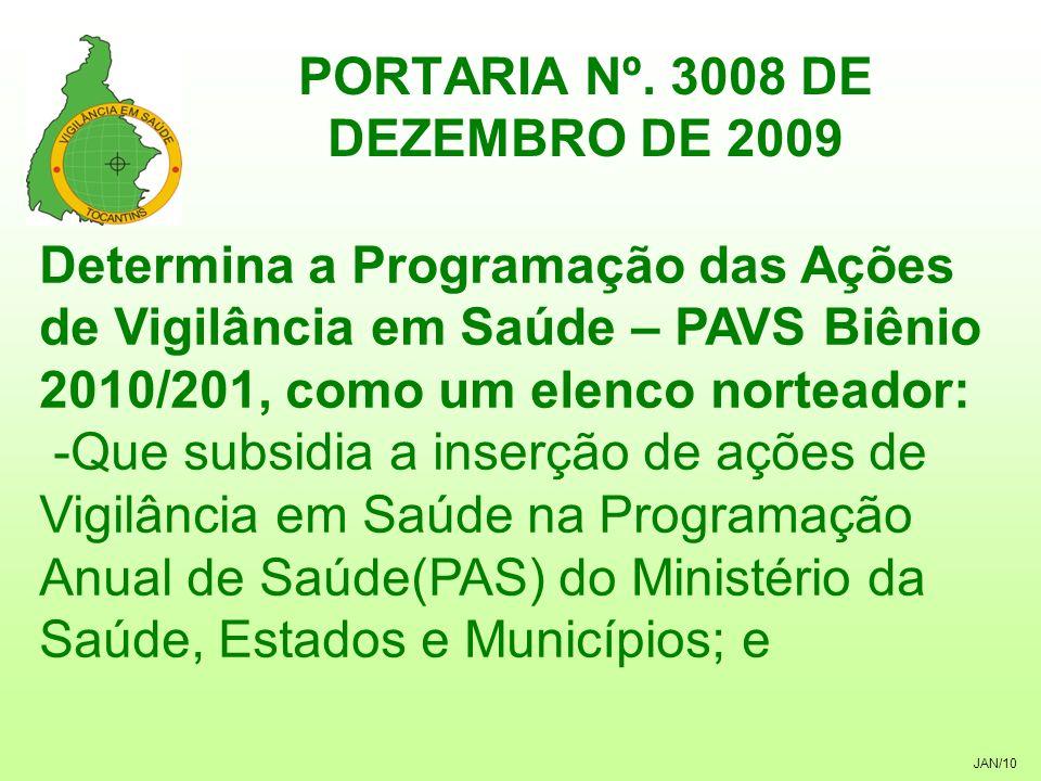 JAN/10 PORTARIA Nº. 3008 DE DEZEMBRO DE 2009 Determina a Programação das Ações de Vigilância em Saúde – PAVS Biênio 2010/201, como um elenco norteador
