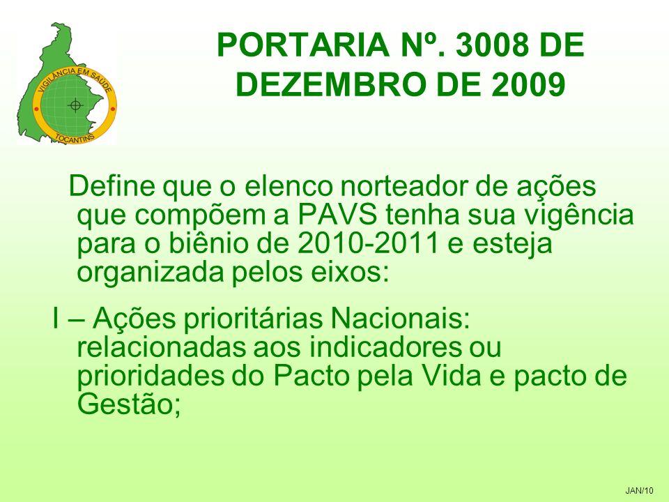 JAN/10 PORTARIA Nº. 3008 DE DEZEMBRO DE 2009 Define que o elenco norteador de ações que compõem a PAVS tenha sua vigência para o biênio de 2010-2011 e