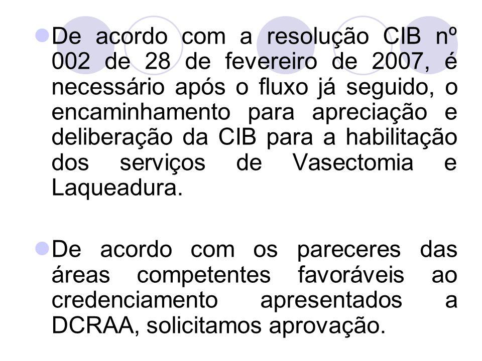 De acordo com a resolução CIB nº 002 de 28 de fevereiro de 2007, é necessário após o fluxo já seguido, o encaminhamento para apreciação e deliberação