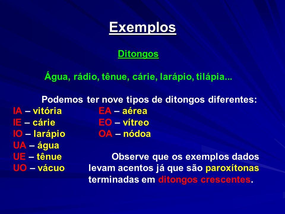 Exemplos Ditongos Água, rádio, tênue, cárie, larápio, tilápia... Podemos ter nove tipos de ditongos diferentes: IA – vitóriaEA – aérea IE – cárieEO –