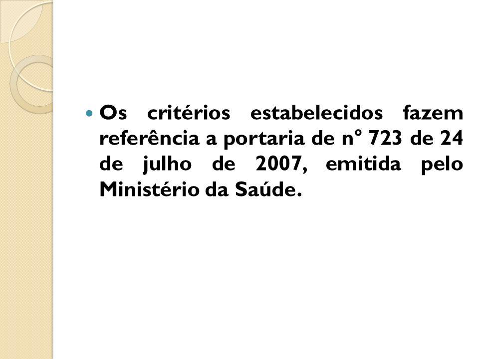 Os critérios estabelecidos fazem referência a portaria de n° 723 de 24 de julho de 2007, emitida pelo Ministério da Saúde.