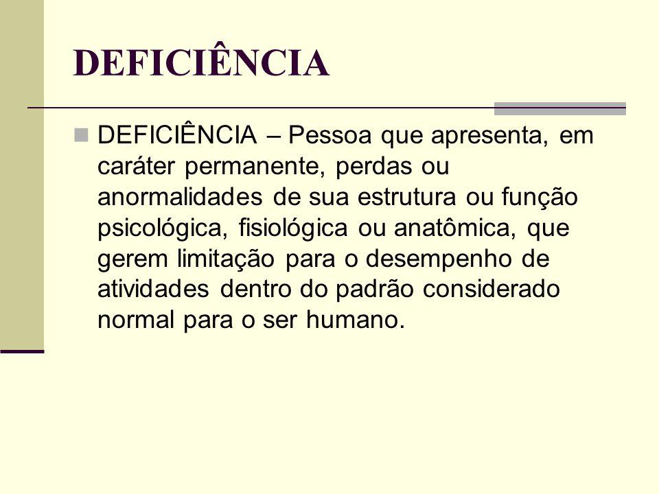 DEFICIÊNCIA DEFICIÊNCIA – Pessoa que apresenta, em caráter permanente, perdas ou anormalidades de sua estrutura ou função psicológica, fisiológica ou