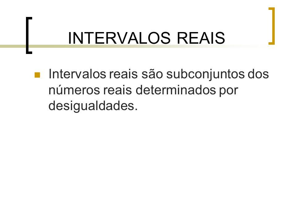 Intervalos Quando o númeronão serve(não pertence), representamos o intervalo como aberto (bolinha aberta); Quando o número serve (pertence), representamos o intervalo como fechado (bolinha preenchida).
