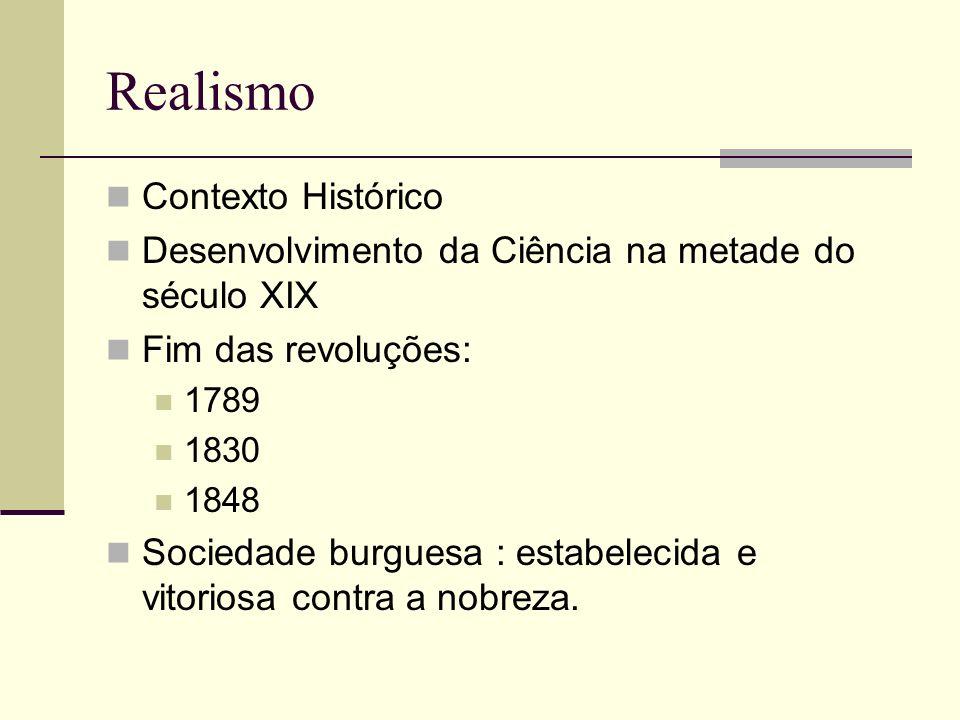 Contexto Histórico Desenvolvimento da Ciência na metade do século XIX Fim das revoluções: 1789 1830 1848 Sociedade burguesa : estabelecida e vitoriosa