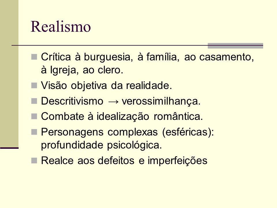 Realismo Características Reação ao Romantismo: Exagero Fantasia Idealização do Amor Final feliz Realismo: Realidade Cotidiano / homem comum Amor real Pós-casamento: o que ocorre?