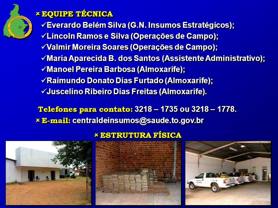 EQUIPE TÉCNICA EQUIPE TÉCNICA Everardo Belém Silva (G.N. Insumos Estratégicos); Lincoln Ramos e Silva (Operações de Campo); Valmir Moreira Soares (Ope