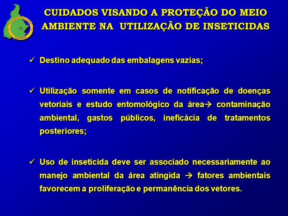 Destino adequado das embalagens vazias; Utilização somente em casos de notificação de doenças vetoriais e estudo entomológico da área contaminação amb