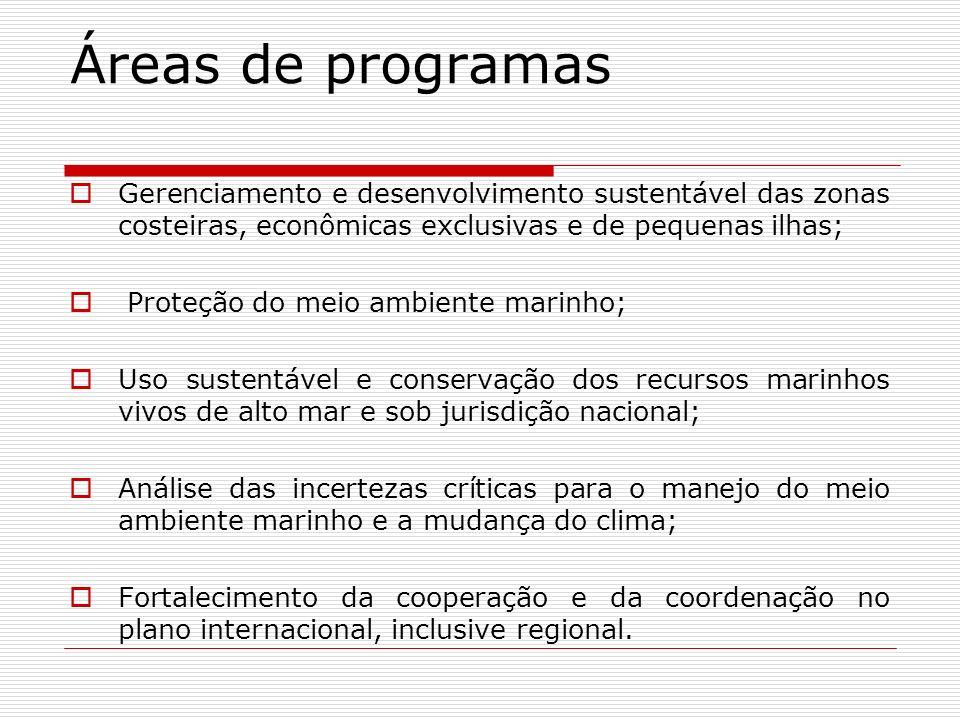 Base para a ação Áreas costeiras; Degradação do meio ambiente marinho; Expansão da pesca em alto mar; Mudança do clima e as mudanças atmosféricas; Cooperação internacional.