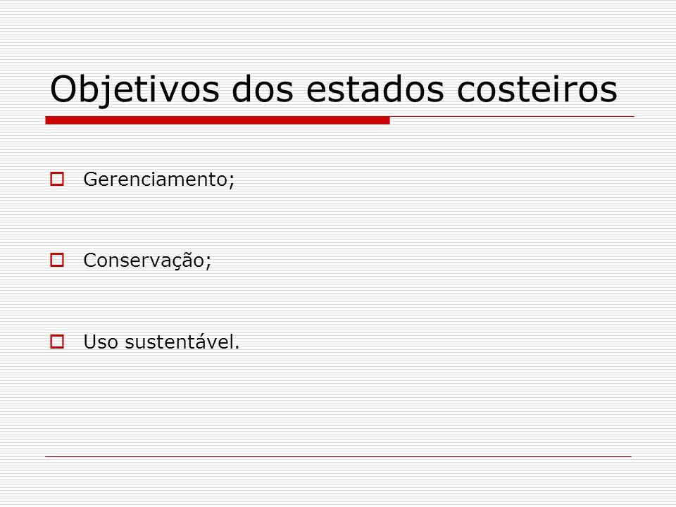 Objetivos dos estados costeiros Gerenciamento; Conservação; Uso sustentável.