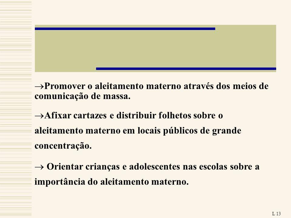 Promover o aleitamento materno através dos meios de comunicação de massa. Afixar cartazes e distribuir folhetos sobre o aleitamento materno em locais