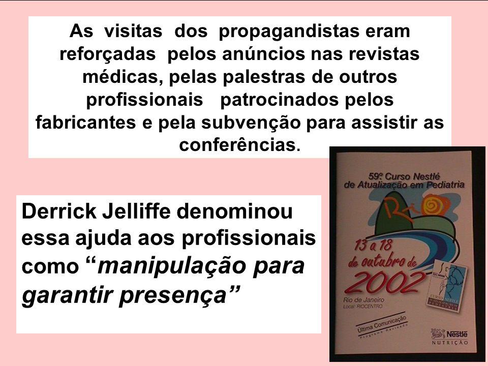 As visitas dos propagandistas eram reforçadas pelos anúncios nas revistas médicas, pelas palestras de outros profissionais patrocinados pelos fabrican