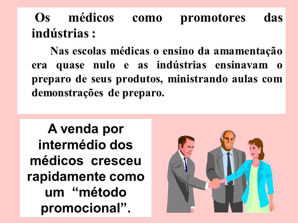 Os médicos como promotores das indústrias : Nas escolas médicas o ensino da amamentação era quase nulo e as indústrias ensinavam o preparo de seus pro