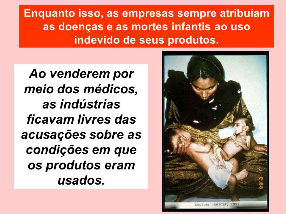 Ao venderem por meio dos médicos, as indústrias ficavam livres das acusações sobre as condições em que os produtos eram usados. Enquanto isso, as empr