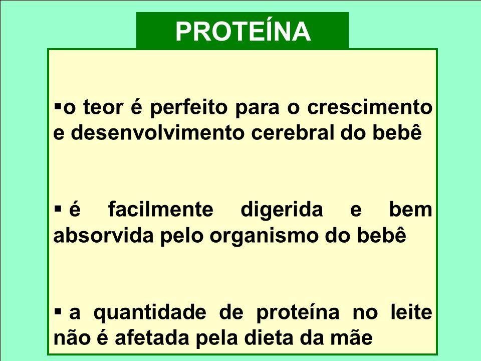 PROTEÍNA o teor é perfeito para o crescimento e desenvolvimento cerebral do bebê é facilmente digerida e bem absorvida pelo organismo do bebê a quanti