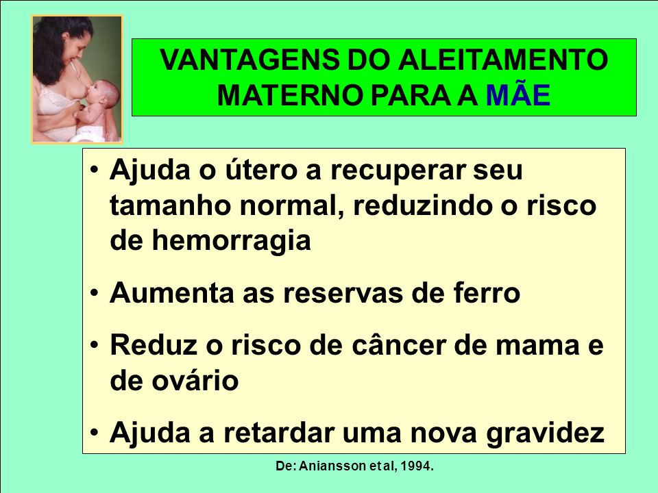 VANTAGENS DO ALEITAMENTO MATERNO PARA A MÃE De: Aniansson et al, 1994. Ajuda o útero a recuperar seu tamanho normal, reduzindo o risco de hemorragia A