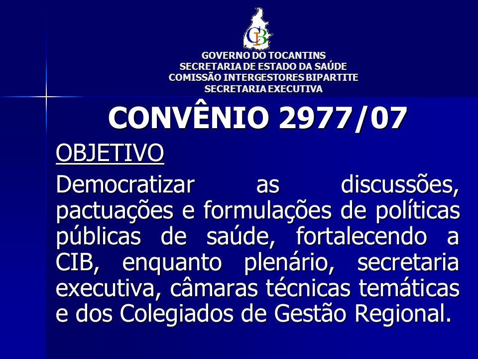 GOVERNO DO TOCANTINS SECRETARIA DE ESTADO DA SAÚDE COMISSÃO INTERGESTORES BIPARTITE SECRETARIA EXECUTIVA CONVÊNIO 2977/07 RECURSO FNS: R$ 82.800,00 FES: R$ 9.200,00