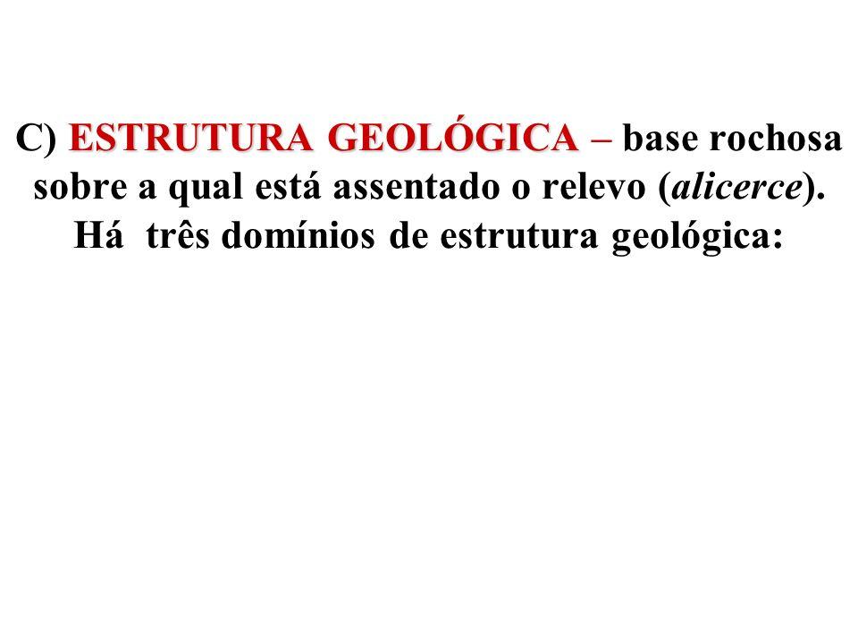 ESTRUTURA GEOLÓGICA C) ESTRUTURA GEOLÓGICA – base rochosa sobre a qual está assentado o relevo (alicerce). Há três domínios de estrutura geológica: