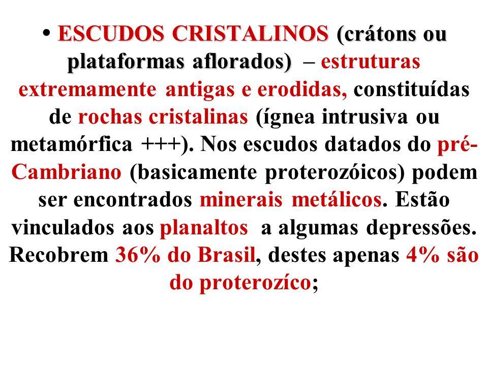 ESCUDOS CRISTALINOS (crátons ou plataformas aflorados) ESCUDOS CRISTALINOS (crátons ou plataformas aflorados) – estruturas extremamente antigas e erod
