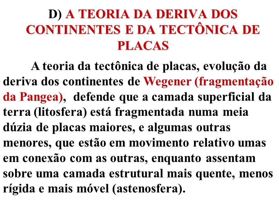 A TEORIA DA DERIVA DOS CONTINENTES E DA TECTÔNICA DE PLACAS D) A TEORIA DA DERIVA DOS CONTINENTES E DA TECTÔNICA DE PLACAS A teoria da tectônica de pl