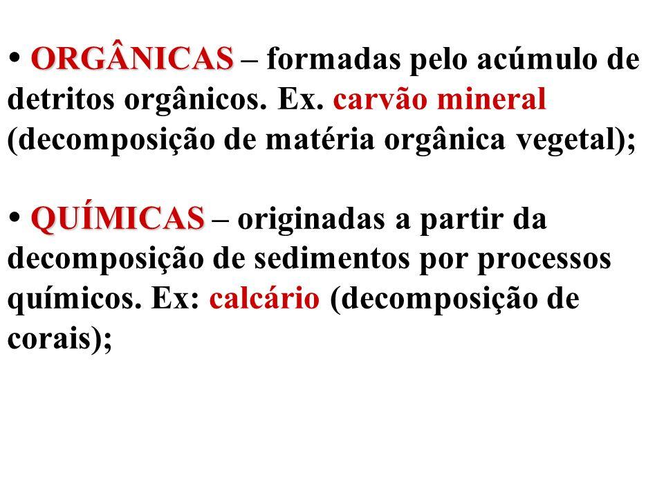 ORGÂNICAS QUÍMICAS ORGÂNICAS – formadas pelo acúmulo de detritos orgânicos. Ex. carvão mineral (decomposição de matéria orgânica vegetal); QUÍMICAS –