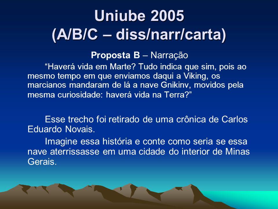 Uniube 2005 (A/B/C – diss/narr/carta) Proposta B – Narração Haverá vida em Marte? Tudo indica que sim, pois ao mesmo tempo em que enviamos daqui a Vik