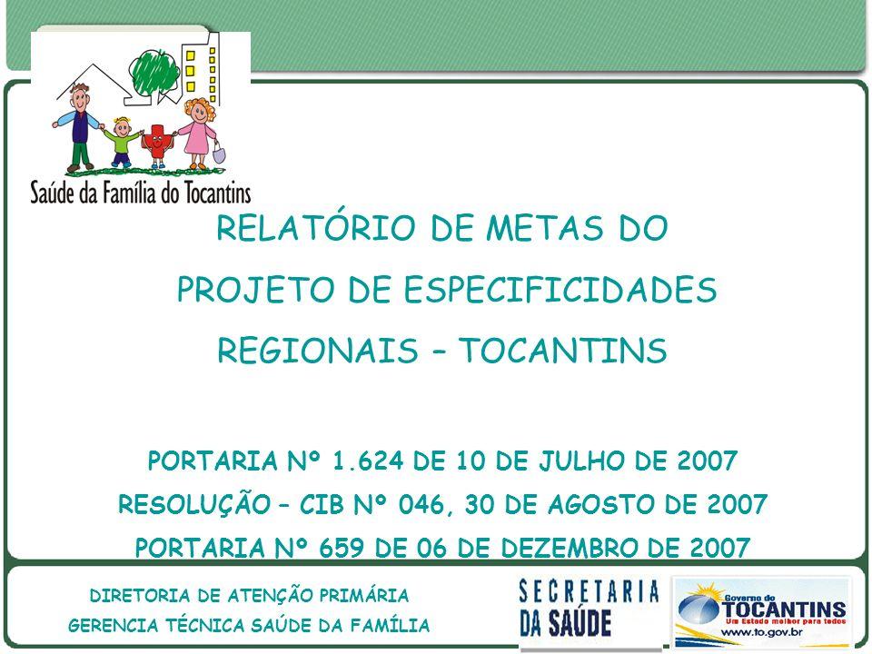 GOVERNO DO ESTADO DO TOCANTINS GOVERNO DO ESTADO DO TOCANTINS SECRETARIA DE ESTADO DA SAÚDE DIRETORIA DE ATENÇÃO PRIMÁRIA GERENCIA TÉCNICA SAÚDE DA FAMÍLIA RELATÓRIO DE METAS DO PROJETO DE ESPECIFICIDADES REGIONAIS – TOCANTINS PORTARIA Nº 1.624 DE 10 DE JULHO DE 2007 RESOLUÇÃO – CIB Nº 046, 30 DE AGOSTO DE 2007 PORTARIA Nº 659 DE 06 DE DEZEMBRO DE 2007