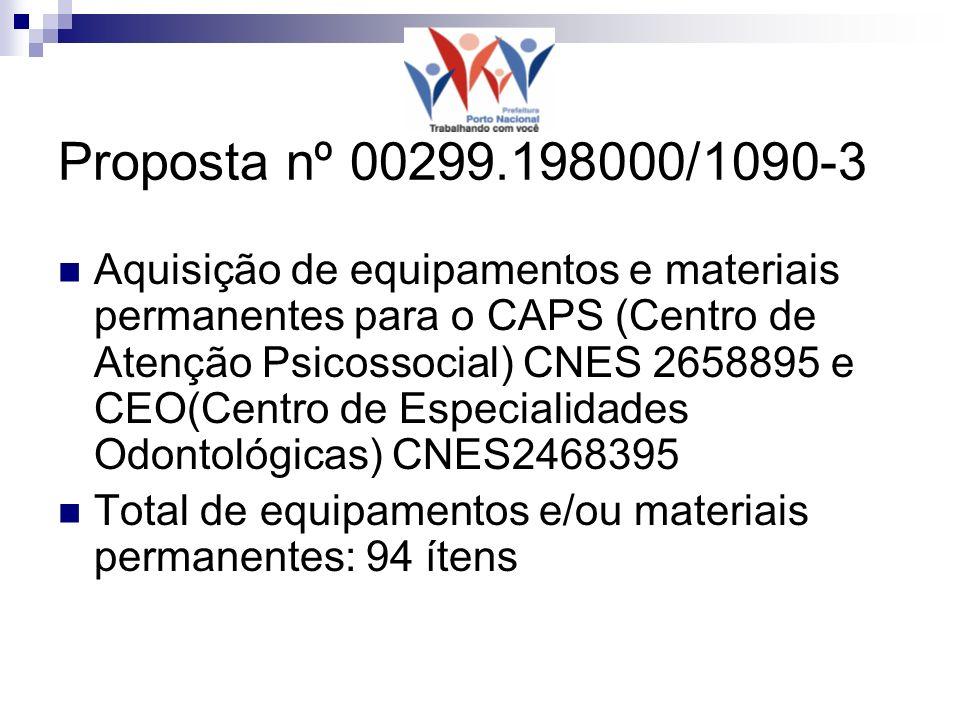 Proposta nº 00299.198000/1090-3 Aquisição de equipamentos e materiais permanentes para o CAPS (Centro de Atenção Psicossocial) CNES 2658895 e CEO(Centro de Especialidades Odontológicas) CNES2468395 Total de equipamentos e/ou materiais permanentes: 94 ítens