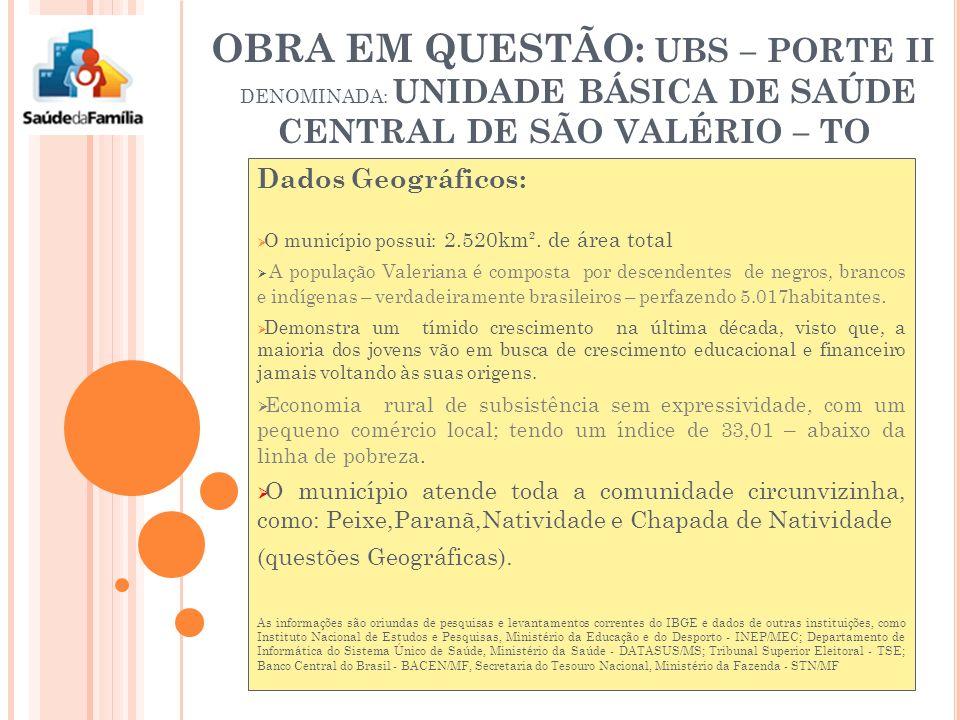 OBRA EM QUESTÃO: UBS – PORTE II DENOMINADA: UNIDADE BÁSICA DE SAÚDE CENTRAL DE SÃO VALÉRIO – TO Dados Geográficos: O município possui: 2.520km².