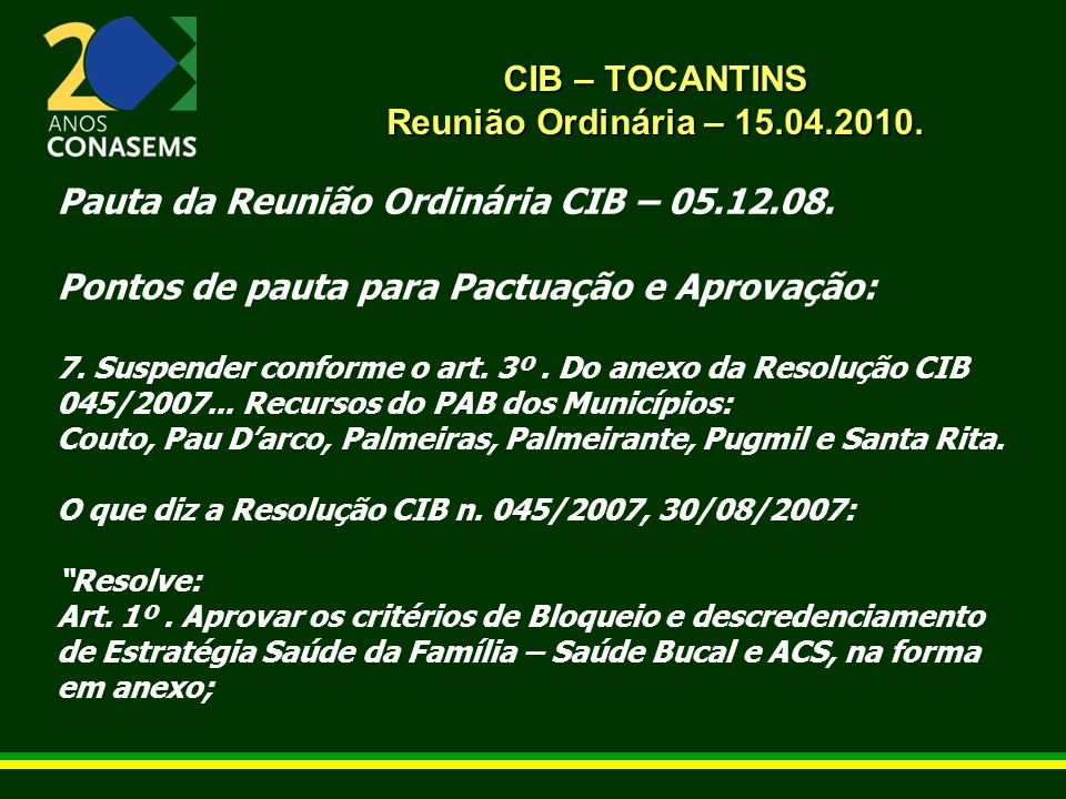 CIB – TOCANTINS Reunião Ordinária – 15.04.2010. Pauta da Reunião Ordinária CIB – 05.12.08.