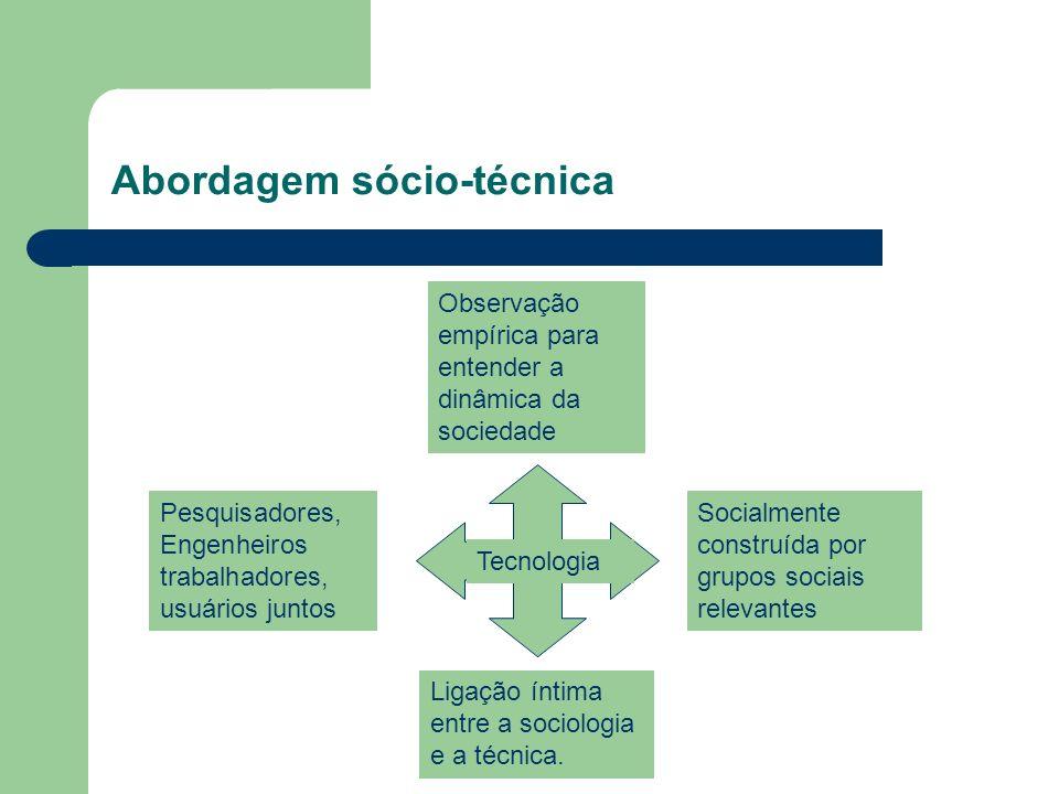 Abordagem sócio-técnica Socialmente construída por grupos sociais relevantes Tecnologia Pesquisadores, Engenheiros trabalhadores, usuários juntos Observação empírica para entender a dinâmica da sociedade Ligação íntima entre a sociologia e a técnica.