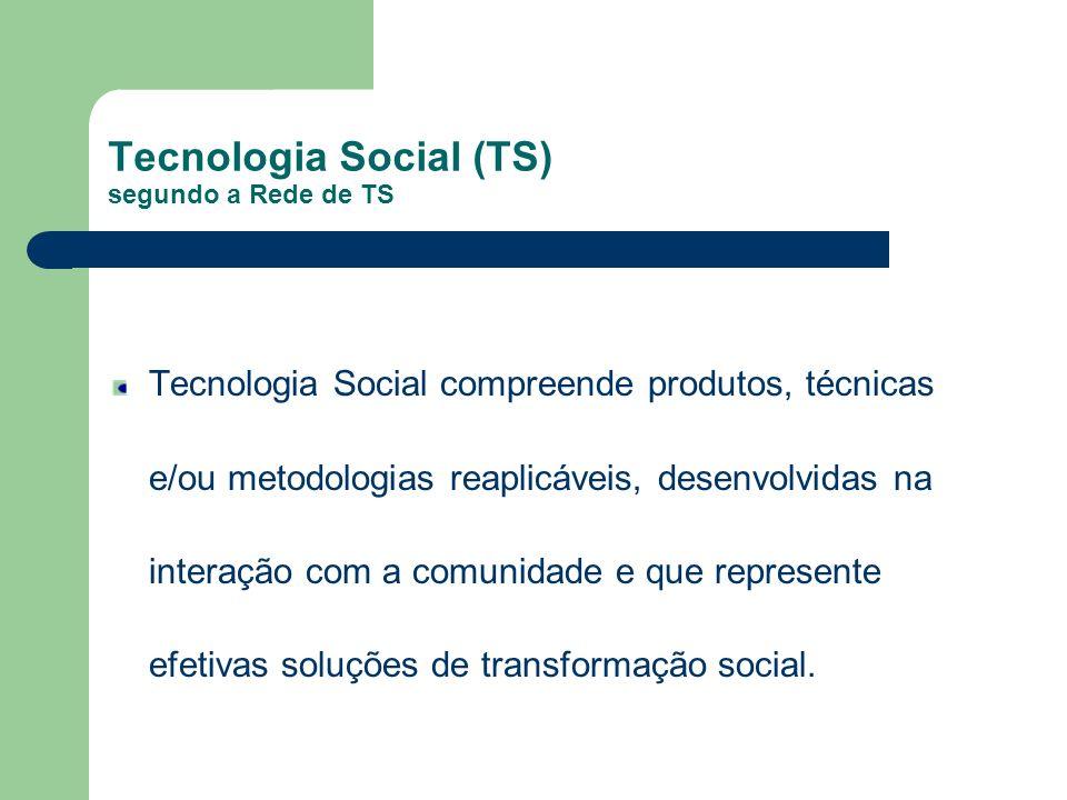 Tecnologia Social (TS) segundo a Rede de TS Tecnologia Social compreende produtos, técnicas e/ou metodologias reaplicáveis, desenvolvidas na interação com a comunidade e que represente efetivas soluções de transformação social.