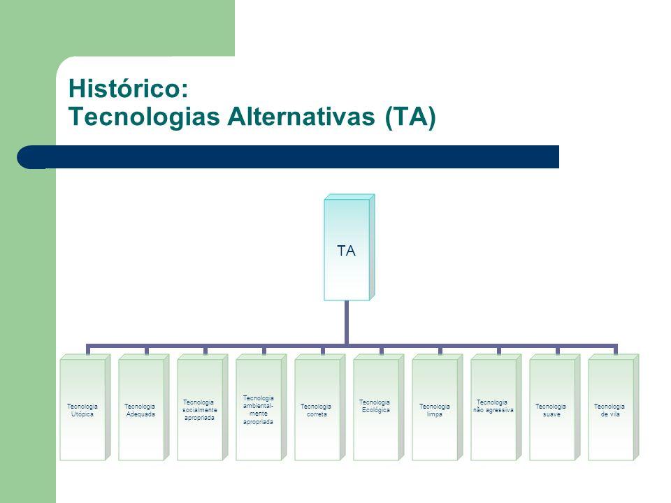 Características das TA Baixo custo Participação comunitária Saúde Geração de Empregos Geração de renda Produção de Alimentos Habitação Relações sociais Meio ambiente Histórico: Tecnologias Alternativas (TA)