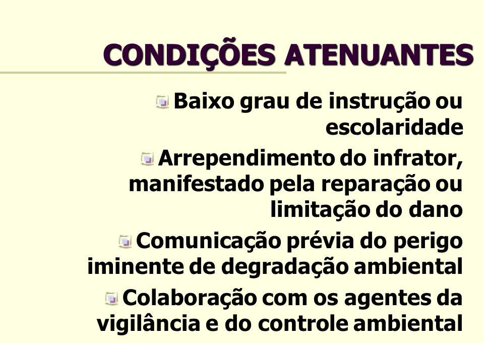 CONDIÇÕES ATENUANTES Baixo grau de instrução ou escolaridade Arrependimento do infrator, manifestado pela reparação ou limitação do dano Comunicação p