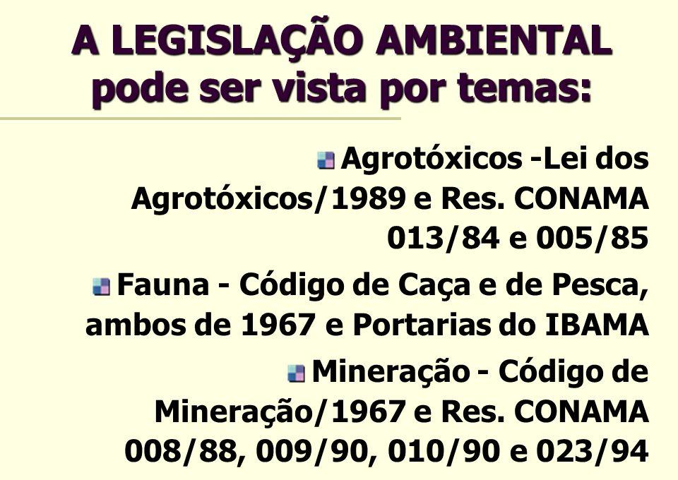 A LEGISLAÇÃO AMBIENTAL pode ser vista por temas: Agrotóxicos -Lei dos Agrotóxicos/1989 e Res. CONAMA 013/84 e 005/85 Fauna - Código de Caça e de Pesca