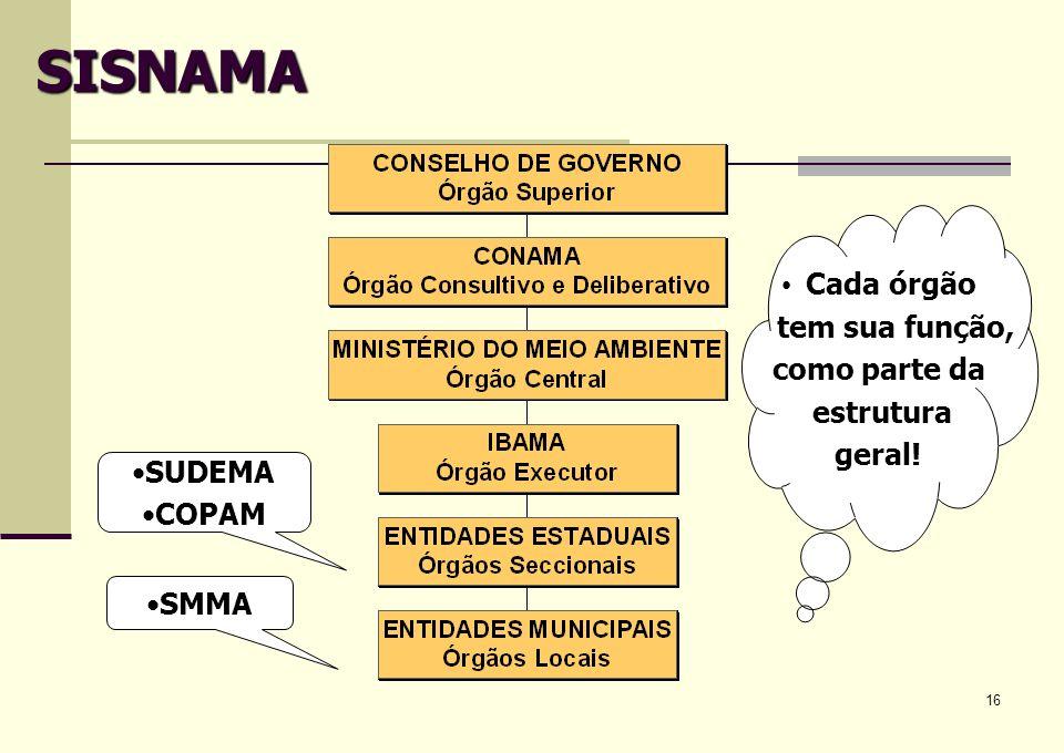 16 SISNAMA Cada órgão tem sua função, como parte da estrutura geral! SUDEMA COPAM SMMA