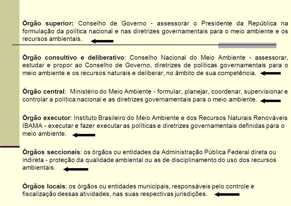 Órgão superior: Conselho de Governo - assessorar o Presidente da República na formulação da política nacional e nas diretrizes governamentais para o m