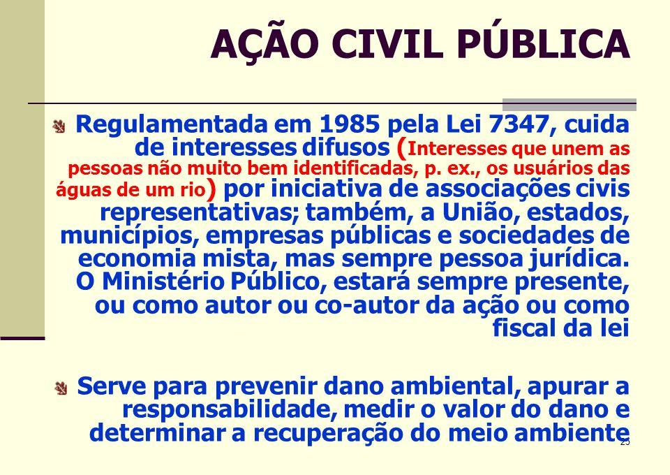 25 AÇÃO CIVIL PÚBLICA Regulamentada em 1985 pela Lei 7347, cuida de interesses difusos ( Interesses que unem as pessoas não muito bem identificadas, p