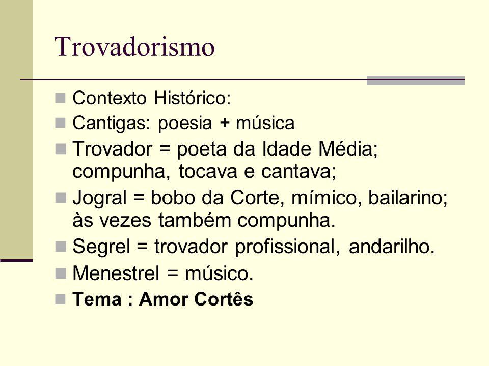 Trovadorismo Contexto Histórico: Cantigas: poesia + música Trovador = poeta da Idade Média; compunha, tocava e cantava; Jogral = bobo da Corte, mímico