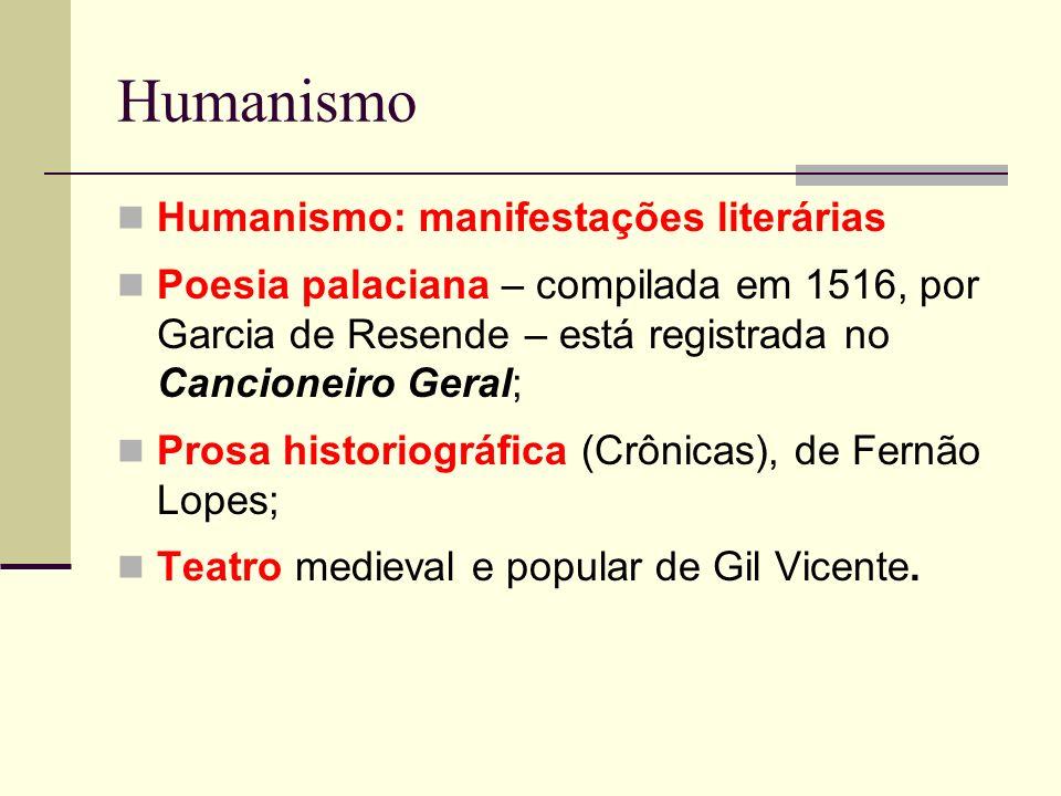 Humanismo Humanismo: manifestações literárias Poesia palaciana – compilada em 1516, por Garcia de Resende – está registrada no Cancioneiro Geral; Pros