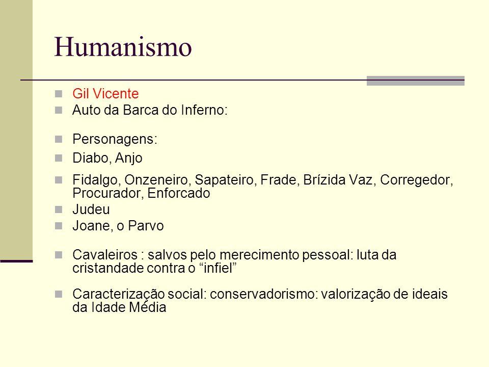 Humanismo Gil Vicente Auto da Barca do Inferno: Personagens: Diabo, Anjo Fidalgo, Onzeneiro, Sapateiro, Frade, Brízida Vaz, Corregedor, Procurador, En