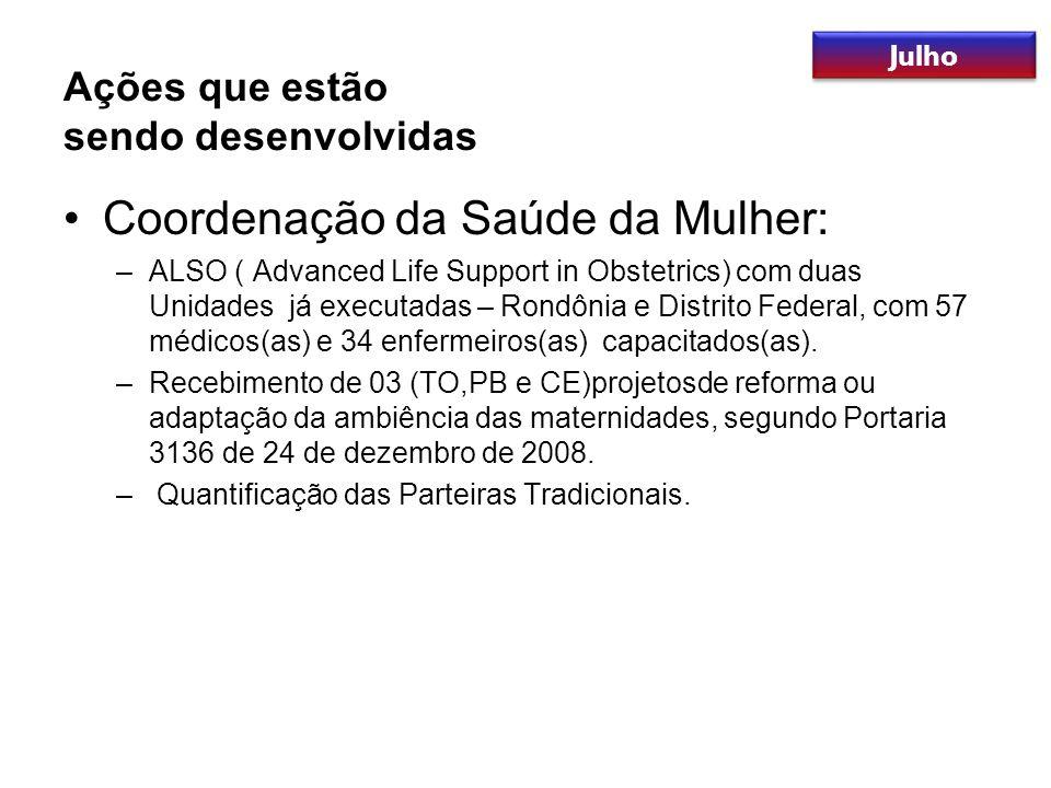 Coordenação da Saúde da Mulher: –ALSO ( Advanced Life Support in Obstetrics) com duas Unidades já executadas – Rondônia e Distrito Federal, com 57 méd