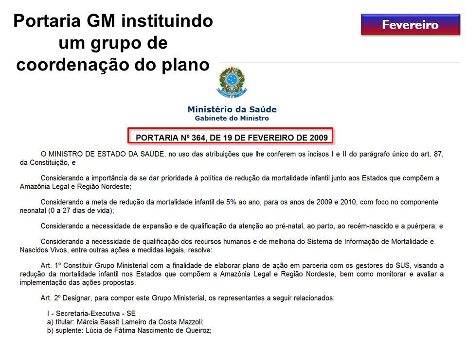 Portaria GM instituindo um grupo de coordenação do plano Fevereiro