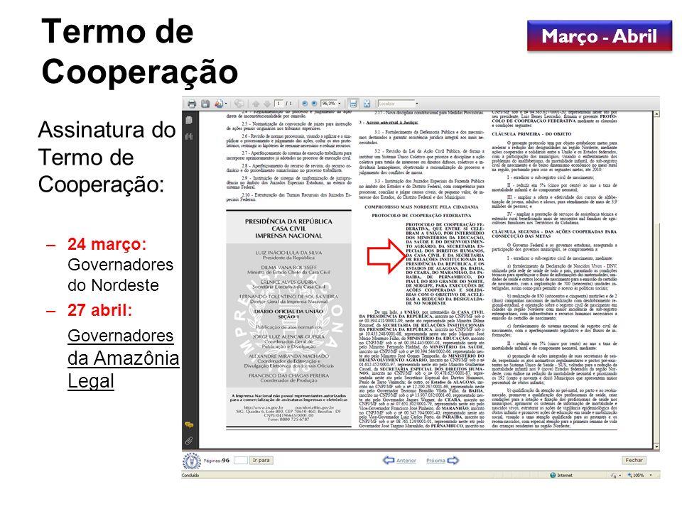 Termo de Cooperação Assinatura do Termo de Cooperação: –24 março: Governadores do Nordeste –27 abril: Governadores da Amazônia Legal Março - Abril