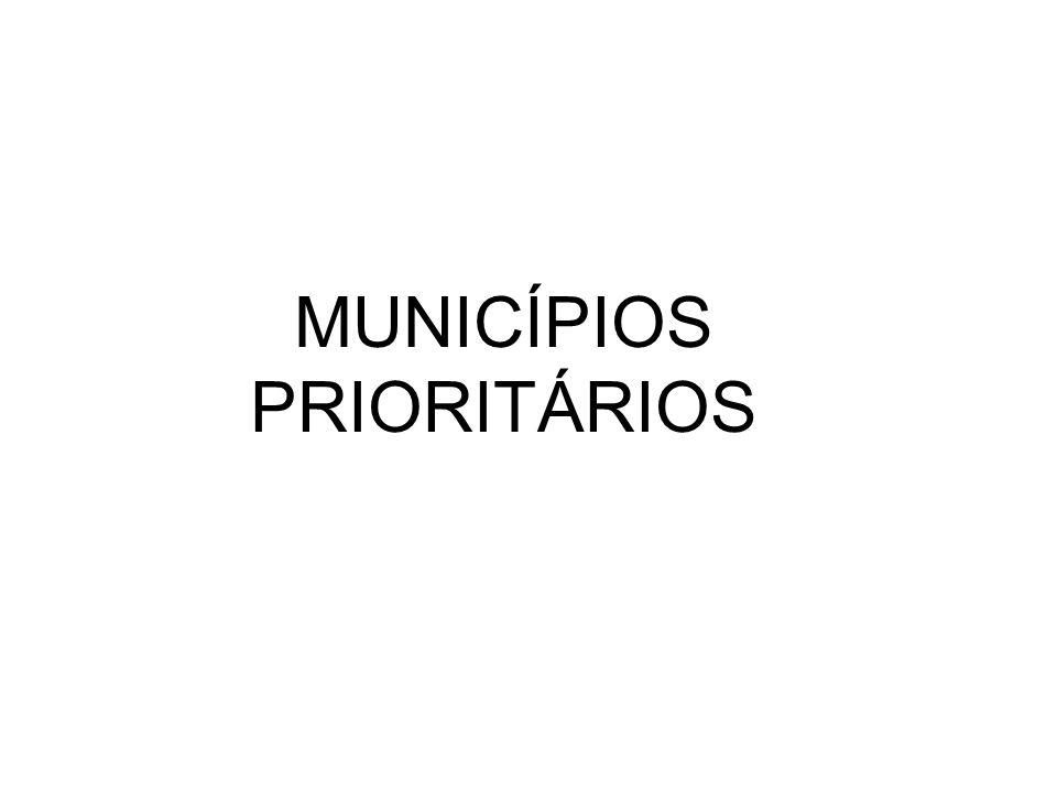 Municípios prioritários (13) na redução da mortalidade infantil.