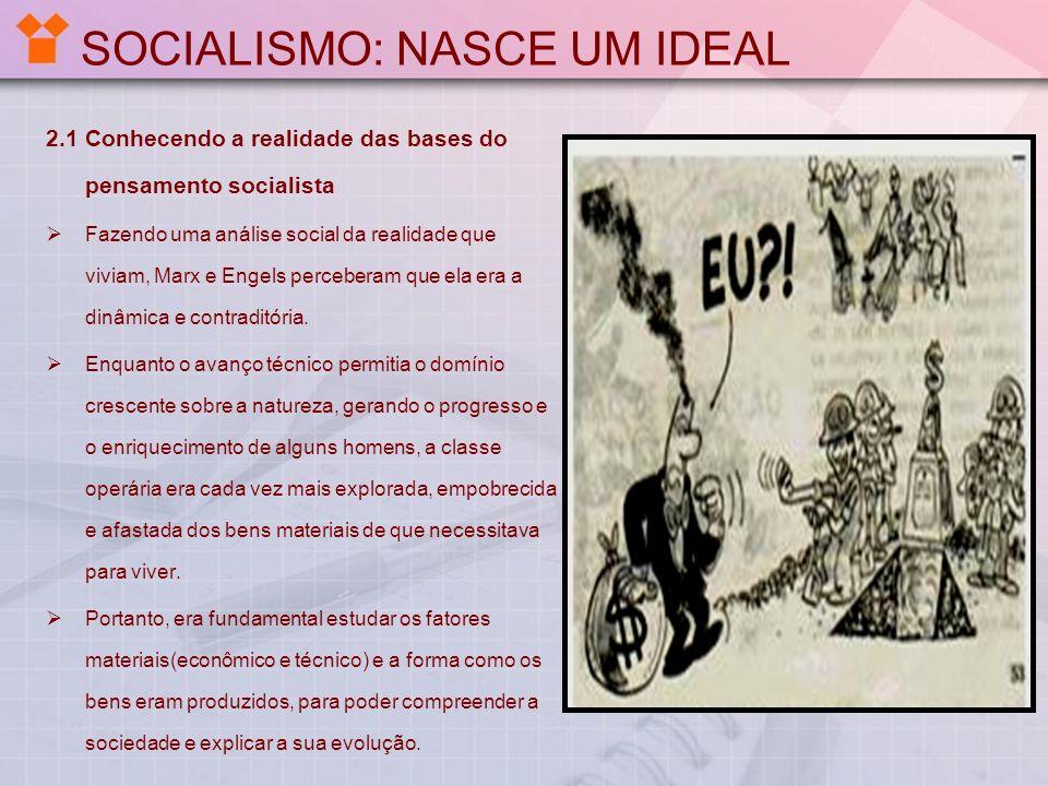 SOCIALISMO: NASCE UM IDEAL 2.1 Conhecendo a realidade das bases do pensamento socialista Fazendo uma análise social da realidade que viviam, Marx e En