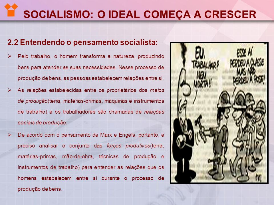 SOCIALISMO: O IDEAL COMEÇA A CRESCER 2.2 Entendendo o pensamento socialista: Pelo trabalho, o homem transforma a natureza, produzindo bens para atende