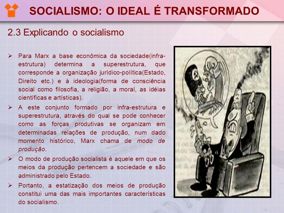 SOCIALISMO: O IDEAL É TRANSFORMADO 2.3 Explicando o socialismo Para Marx a base econômica da sociedade(infra- estrutura) determina a superestrutura, q