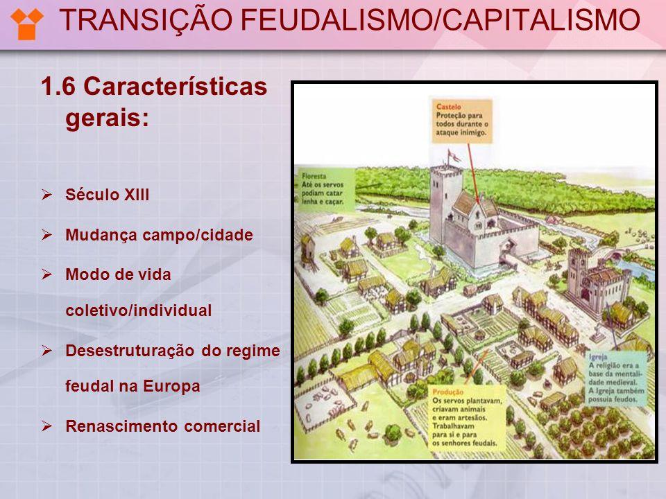 TRANSIÇÃO FEUDALISMO/CAPITALISMO 1.6 Características gerais: Século XIII Mudança campo/cidade Modo de vida coletivo/individual Desestruturação do regi